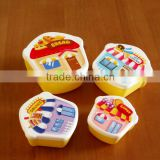 Cute girl Microwaveable Single Layer Cartoon Plastic Meal Bento Food Container Lunch Box For Kids Tableware 4 pcs
