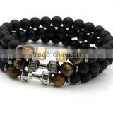 Wholesale Alloy Metal Barbell Matte Black Stone Beads Fitness Fashion Dumbbell Bracelets