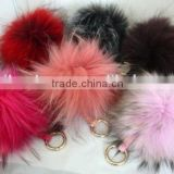 custom Luxury plush Fox Fur Ball Keyring Bag Charm fluffy ball keychain