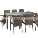 New design Aluminium Commercial for Restaurant PE Rattan dining furniture glass dining table and Chair