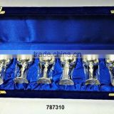 Brass Goblets Wine Glasses Set Silver Plated in Velvet Box for Corporate Gifts