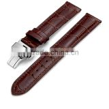 Men Waterproof Classic Head Layered Genuine Cow Leather Butterfly Clasp Watch Band 22mm 24mm