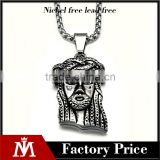 Hot Sale Religious Mens Necklace Silver Punk Stainless Steel Jesus Pendant Casting Jewelry