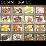 Innovative fast food crystal advertising light box/crystal photo light frame/led picture poster frame