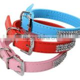 Pet Dog Cat PU Leather Collar With Rhinestone Black,Blue,Pink,Red,XS,S,M,L
