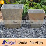 Antique white marble square gardening flowerpot NTMF - FP012L