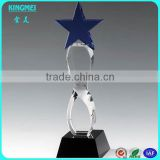 Glass Crystal Blue Super Star Awards Trophy With Blank Black Base For Customized