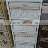 heze kaixin popular storage cabinet with natural wicker baskets
