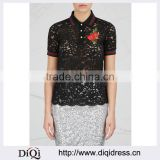 Wholesale Women Apparel Floral Embroidered Black Lace Polo Shirt(DQE0355T)