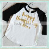 thanksgiving raglan happy thanksgiving icing ruffle long sleeve baby shirts raglan 3/4 sleeve baseball t shirt