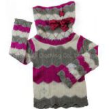 baby girl\'s crochet jacquard pullover turtleneck metallizer printing sweater