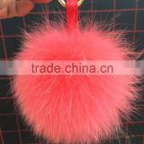 YR468 Stylish Dyed Genuine Fox Fur Ball Key Chain For Bag Accessory With Real Fur Pom Poms