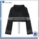 Newest Custom Women Black Cotton Hoodie Extra Long Sleeve Cuff Details Cropped Hoodie