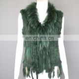Winter fashion genuine rabbit fur knitted vest for ladies
