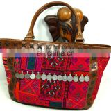 Girls Leather Tote Bag Vintage Fabric Leather Tote Bag