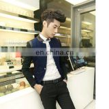 Newest Design One Button Stand Collar Slim Fit Two Tone Mens Coats Wool Navy With Leather Trim