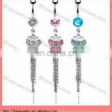 Belly button ring with dangling jeweled butterfly with chains navel ring body piercing jewelry