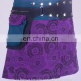Black Dot Exotic Print in Crocus Purple Shade Cotton Fabric Gypsy Wrap Around Skirt With Belt HHCS 112 D