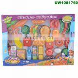 Kids Pretend Play Grocery Shopping Play Toy Food Set, Fruit and Vegetable with Shopping Basket