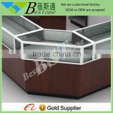 Metal frame wooden furniture corner showcase for jewelry