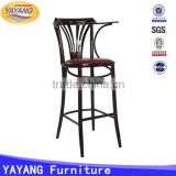 metal used heavy-duty leather cushion stool high bar chair for restaurant for sale with arm
