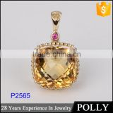 Pendant with fashion design 10 K yellow gold different types of crystal pendant chains jewelry