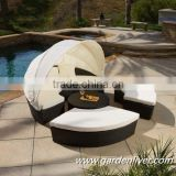 Modern KD rattan outside pool sunbed prices/round canopy bed                                                                         Quality Choice