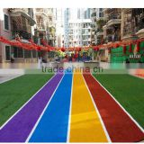 Playground Coloured Artificial Turf Fake Grass Mats With SBR Latex Coating
