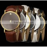 Top quality New Fashion Women's Men's Minimalism leather band Wrist Watch