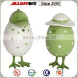 "4.1"" standing green painted Mr. egg and Mrs egg resin craft for Easter decoration, easter egg decoration                                                                         Quality Choice"