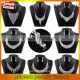 Silver Tone Crystal Choker Necklace Set Earrings Factory Price Wedding Bridal Jewelry Sets