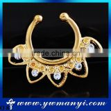 Newest Colorful Crystal Alloy Gold Plated Nose Ring Fake Nose Ring O 8