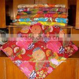 Indian Kantha Quilt Queen-King Hand stitched Indian kantha quilts designer vintage handamde ethnic flower prints quilts