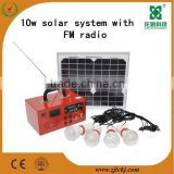 wholesale product 10w solar power system for home with FM radio MP3 and lighting function