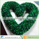yiwu heart shaped christmas wreath green decorative plastic , faux boxwood heart garland