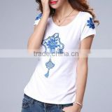 Chinese blue and white porcelain style short sleeve T-shirt of skin tight women's short sleeve t shirt