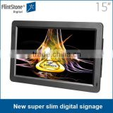 "Factory price wholesale 15"" ultra thin lcd monitor, hot fashion new design lcd monitor usb video media player for advertising"