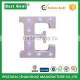 Decorative Light Up Wooden Alphabet Letter, 6.25 Inch Tall, White MDF, with Battery Operated LED Lights, Letter E