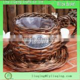 Wholesale Slipt Brown Wicker Tea Cup Planter Pot Garden Flowers Gift basket with plastic liner