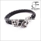 Mens Braided Leather Stainless Steel Bracelet, Biker Gothic Leather Bracelets Black Silver