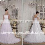 Fancy Real Sample A Line Cap Sleeve Appliques Long Train Organza Floor Length Beaded Wedding Gown Bridal Dress RP0003 Dresses