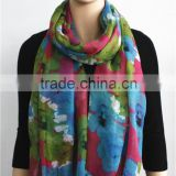 Flower Printed Viscose Big Scarf