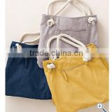 2015 custom design plain canvas beach tote bag with rope handle/canvas tote bag with hanle
