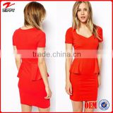 2016 Heart-shaped collar lotus leaf swing red tight bodycon dress/sexy red fit ladies tight dress