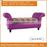 Bedroom chaise lounge,Leather,movable fabric seat cushion,copper nails around,TB-7821