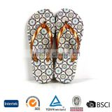 2016 trendy ladies antislid point printed rubber upper personalized design beige eva flip flops