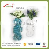 home & garden glazed sea horse blue white ceramic wall mounted plant pots for planters