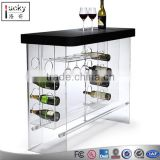 Custom acrylic table with wine bottle holer and glass cup holder for 3 in 1 wine table