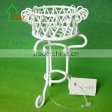 1:12 Scale Dolls House Miniature Furniture White Wire Plant Stand Planter