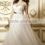 AR-85 Custom Made Robe De Mariage Ankle Length Bridal Dress Gold Bling Sash Tank Plus Size Wedding Dresses 2016